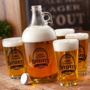"""Guy Gifts: Man Cave Fav's – Part 2 (Barware) Personalized Brewery Growler Set """