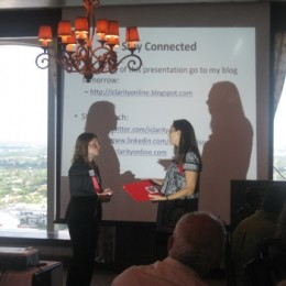 Suzannah Richards President, presenting Maria Harrison (speaker) with Membership