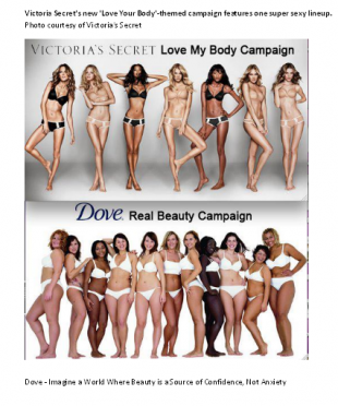 VICTORIA'S SECRET LOVE MY BODY CAMPAIGN VS DOVE CAMPAIGN FOR REAL BEAUTY