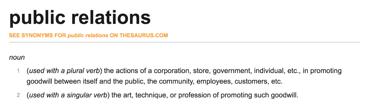 """What is public relations defined"""