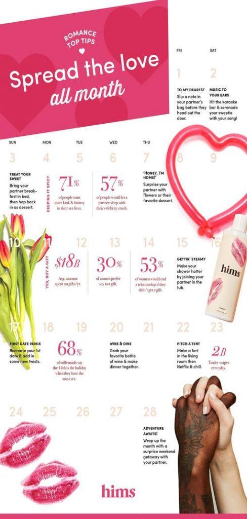 """Creative Romance Month Calendar"""