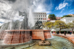 """A fountain near the city wall in Old San Juan, Puerto Rico, """