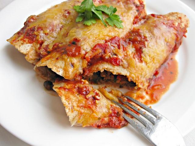 """Zone Manhattan's Lobster, Pea and Pablano Enchilada """
